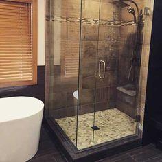 custom cut frameless shower door by Hopkins Glass MN Modern Shower Doors, Frameless Shower Doors, Glass Shower Doors, Glass Shower Enclosures, Custom Glass, Bathtub, Mirror, Standing Bath, Bathtubs