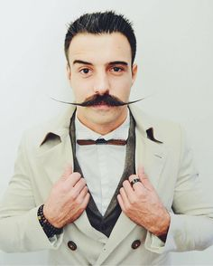 12 Hipster Mustache Styles for Modren Men - Be Snazzy Hipster Mustache, Handlebar Mustache, Mustache Styles, Hair And Beard Styles, Facial Hair, Bearded Men, Dapper, The Man, Attitude