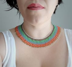 Peyote Beaded Mexican Orange Teal and Green Necklace Choker
