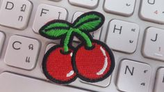 Cherry Iron on patch Cherry Applique by glassbottleshop on Etsy