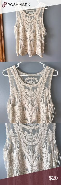 Lace tank Super cute lace tank, perfect for layering! Size M. NWT Tops Tank Tops