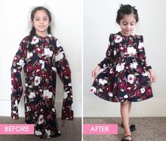 DIY Upcycle Adult Tunic to Child Dress. Before and After. Refashion