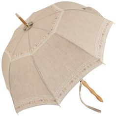 Juliette - UVP Beige Parasol with Embroidered Lace by Pierre Vaux - Brolliesgalore
