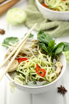 Healthy Chicken Pho with Zucchini Noodles - The Healthy Maven