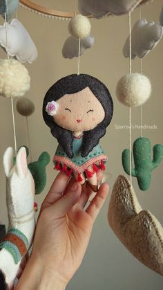 Llama baby mobile with Peruvian doll cactus sun clouds and mountain for newborn girl peru inspired nursery decor pregnancy baby shower gift Baby Mädchen Mobile, Felt Mobile, Baby Boy Photos, Felt Baby, Boho Baby, New Baby Gifts, Girl Nursery, Peru, Baby Toys
