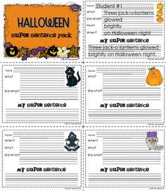 Sailing Through 1st Grade: Halloween Super Sentence Pack