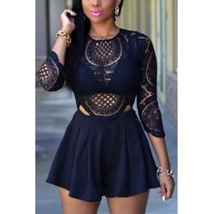 USD11.49Sexy O Neck Three Quarter Sleeves Hollow-out Navy Blue Lace One-piece Jumpsuit
