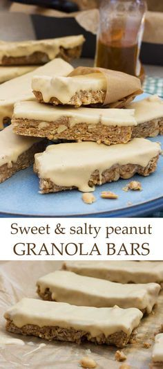 Sweet and salty peanut granola bars Homemade granola bars with delicious sweet and salty contrasting flavours - only 5 ingredients including peanuts, honey, and a tasty peanut butter coating! Peanut Butter Squares, Granola Bars Peanut Butter, Healthy Granola Bars, Homemade Granola Bars, Healthy Snacks, Healthy Tips, Dessert Bars, Dessert Recipes, Desserts