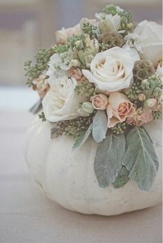 This fun roundup of fall wedding decorations includes everything from pumpkin wedding centerpieces to pumpkin aisle decor and escort cards. White Pumpkin Centerpieces, Pumpkin Vase, Pumpkin Flower, Pumpkin Bouquet, Centerpiece Flowers, Pumpkin Floral Arrangements, White Pumpkin Decor, Flower Decoration, Fall Centerpiece Ideas