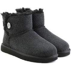 UGG Australia Mini Bailey Bling Boots (€205) ❤ liked on Polyvore featuring shoes, boots, ankle booties, black, cold weather boots, black shiny boots, black ankle booties, shiny boots and sparkle boots