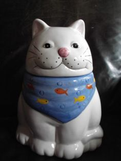 """COLLECTIBLE COOKIE JAR """" CAT WITH FISH BIB """""""