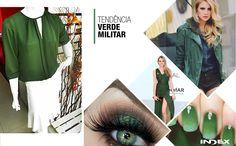 A versatilidade do verde militar é tendência não só no guarda-roupa feminino, mas ganha a estação também em acessórios, unhas e maquiagens. Nas ruas, nas passarelas e na nossa coleção, a cor é uma das queridinhas da próxima temporada!