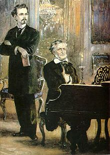 Ludwig II with Richard Wagner, the composer of Lohengrin and many other romantic operas, at the piano