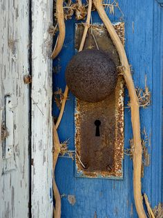 blue door and old door knob Old Door Knobs, Door Knobs And Knockers, Knobs And Handles, Door Handles, Old Doors, Windows And Doors, Vines, Door Detail, Peeling Paint