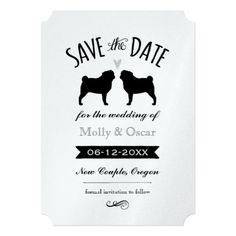 Pug Silhouettes Wedding Save the Date Invitation
