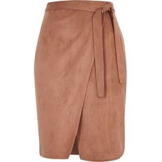 River Island Brown faux suede wrap skirt ($70) ❤ liked on Polyvore featuring skirts, brown, midi skirts, women, faux suede skirt, brown knee length skirt, beige skirt, wrap front skirt and cream skirt