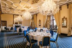 Vaulted arch windows flood the Ramsay Room with natural light with views across the parkland estate. Function Room, Arched Windows, Edinburgh Scotland, Scotland Travel, Castle, Chandelier, Ceiling Lights, Luxury, Natural Light