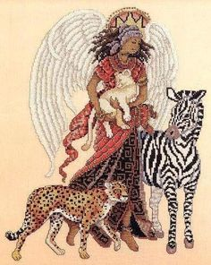 This angel of the savanna is dressed in traditional tribal clothing and surrounded by the wild animal Cross Stitch Fairy, Cross Stitch Angels, Cross Stitch Kits, Cross Stitch Charts, Cross Stitch Patterns, Cross Stitching, Cross Stitch Embroidery, Dragons, Cross Stitch Collection