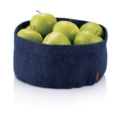Fashioned after our popular cork fabric bowl collection, our Hemp Denim bowl looks and feels great. Shape it, fold it, or roll its edges to modify its size for whatever you put in it. Use for fruits, bread, soaps and toiletries or anything else that needs to be contained fashionably and sustainably.