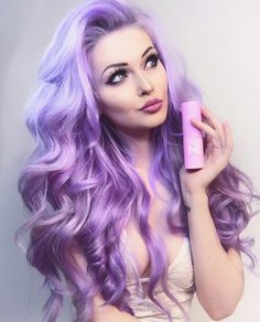 pastel hair color // purple hair // long hair // beach waves // pink highlights