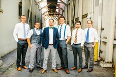 groom and groomsmen-  love the varied pieces in similar styles.
