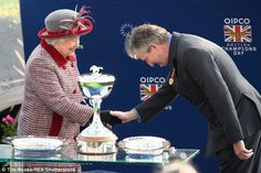 Queen Elizabeth II was also seen presenting the British Owners' Title to trainer John Ferguson on behalf of Godolphin