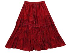 Gypsy Knee Length Skirt For Women's Everyday Casual Cotton Skirt