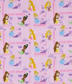 Springs Creative Disney Princesses Royal Debut Badges Fabric - $6.4 | onlinefabricstore.net