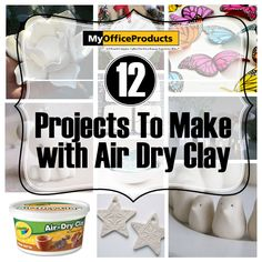 12 Projects with Air Dry Clay You can make these items with your kids, then watch them play with the non-toxic, inexpensive clay for hours! What is best that once dry is that the items can be painted after it is fully dry! It is fun, versatile, and absolutely amazing for beautiful handmade projects. Click on link to read more! [http://myopblog.com/2015/10/01/12-beautiful-projects-to-make-with-air-dry-clay/]