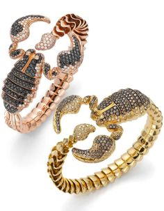 "Peach gold ""Scorpion"" rigid bracelet with black and colourless diamonds Yellow gold ""Scorpion"" rigid bracelet with colourless and various shades brown diamonds by Roberto Coin"