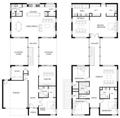 Hallbury Homes offers unique, affordable homes in Melbourne, Bayside and Mornington. Custom Designed to suit your needs. Double Storey House Plans, Double Story House, Two Story House Plans, House Layout Plans, Two Storey House, Family House Plans, Dream House Plans, House Layouts, House Floor Plans