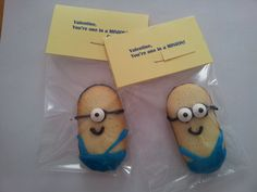 I live these little minion Milano cookies. They are valentines but would be great for a birthday party.