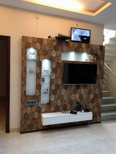 Residence modern living room by allied interiors modern Lcd Unit Design, Tv Unit Interior Design, Lcd Panel Design, Tv Unit Furniture Design, Modern Interior, Tv Unit Decor, Tv Wall Decor, House Ceiling Design, Tv Wall Design