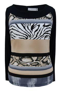 Aldona bluzka czarna pasy zebra #print #nature #animal #fashion #outlet