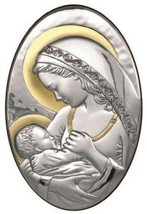 Srebrny obrazek Matka Boska z Dzieciątkiem, stanowi doskonały prezent dla młodej pary z okazji ślubu. #komunia #chrzest #rocznica