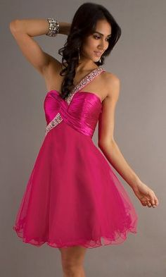 Hot Pink One Shoulder Homecoming Dress With Beaded Strap