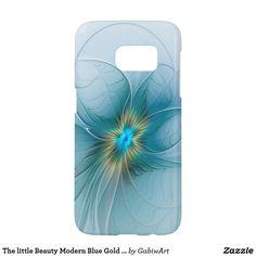 The little Beauty Modern Blue Gold Fractal Flower Samsung Galaxy S7 Case