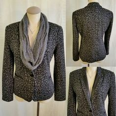 """Gray/Black Knit Blazer faux leather trim Notations Gray & Black Leopard Print Jacket With Faux Leather Trim Size Small  - Very soft, textured stretch knit fabric, paired with Faux leather trim at the collar & pocket trim. - Princess seams & long darts through torso for hourglass silhouette. - Fully lined,? large single button closure in front.  84% Polyester, 14% Rayon,? 2% Spandex. Lining 100% Polyester.  Style : MDKJ0343  Bust 39"""", Waist 34"""", Bottom Opening 40"""", Length from top of shoulder…"""