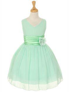 Mint Flower Girl Dress with Pin-on Flower - Blue / Turquoise Flower Girl Dresses