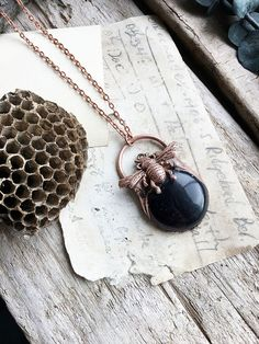 Blue Goldstone & Bumble Bee Electroformed Copper Pendant Necklace: