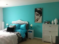 Tiffany blue girls room love the Audrey hepburn minus the Buddhist idol.