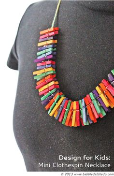 DIY Jewelry: Mini Clothespin Necklace For parents and kids alike! A nice DIY gift kids can make for the upcoming holidays.