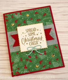 Gold embossed Christmas card made with This Christmas Specialty DSP and Tin of Tags stamp set from Stampin' Up!