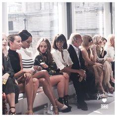 """""""Star-studded front row at the #topshop runway show  #LFW #postcardsfromlondon #jourdandunn #ciara #bellathorne #sukiwaterhouse #annawintour"""""""