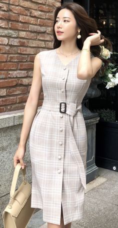 StyleOnme_Check Print Belt Set Sleeveless Dress - New Dress K Fashion, Modest Fashion, Korean Fashion, Fashion Dresses, Feminine Fashion, Fashion 2018, Party Fashion, Fashion Ideas, Ladies Fashion