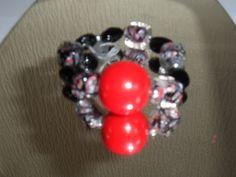 BlackGrey& Red Bead Bracelet by ElainesJewells on Etsy, £8.00