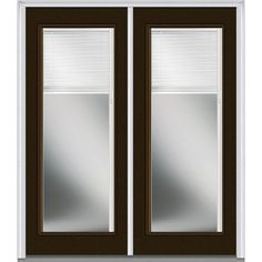 Milliken Millwork 74 in. x 81.75 in. Classic Clear RLB Full Lite Painted Fiberglass Smooth Exterior Double Door, Brown