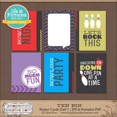 Ten Pin Bowling Themed Pocket Cards from Peppermint Creative #printable