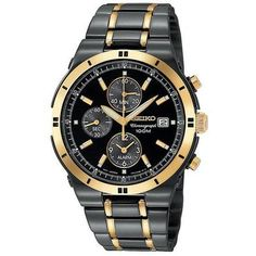 Man I aint got time Men's Seiko Alarm Chronograph Two-Tone Watch - Item SNAA30 | REEDS Jewelers