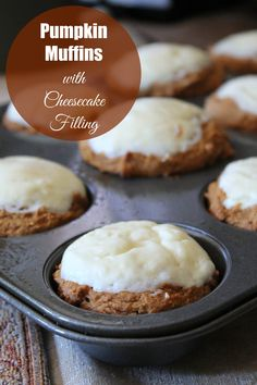 Pumpkin Muffins with Cheesecake Filling 275 calories and 7 weight watchers points plus (Weight Watchers Fall Recipes) Pumpkin Cheesecake Muffins, Healthy Cheesecake, Healthy Baking, Healthy Desserts, Ww Desserts, Healthy Food, Healthy Breakfasts, Healthy Meals, Healthy Recipes